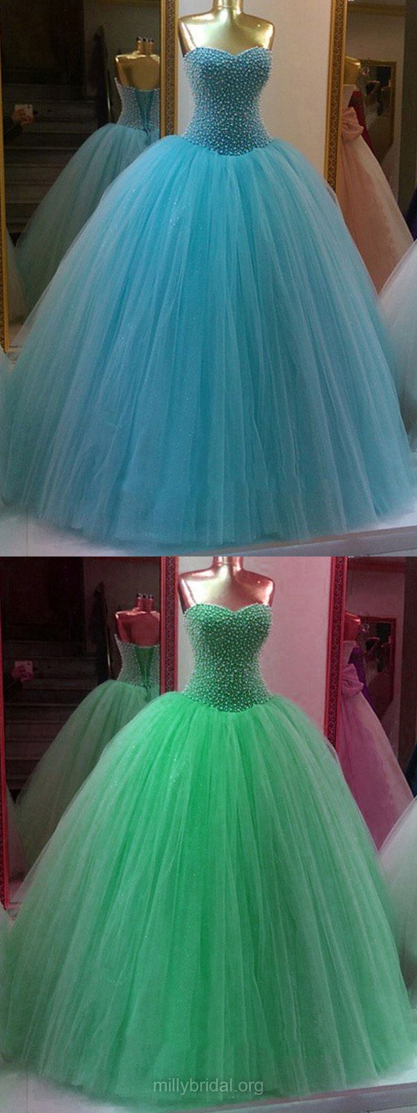 Glamorous Ball Gown Prom Dresses Sweetheart, Tulle Long Party Dresses Pearl Detailing, Lace-up Formal Prom Dresses Modest