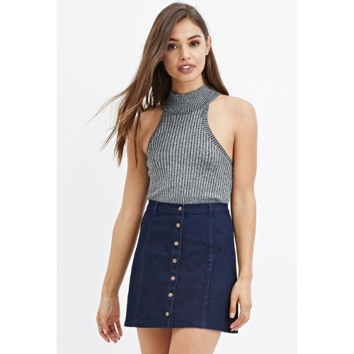STYLE Style Deals - This denim skirt features a snap-button closure down the front and a slight A-line silhouette.Woven. 67% cotton, 20% polyester, 12% rayon, 1% spandex. Machine wash cold. Made in China.FIT Measured from Small. 15.5 full length, 27 waist.