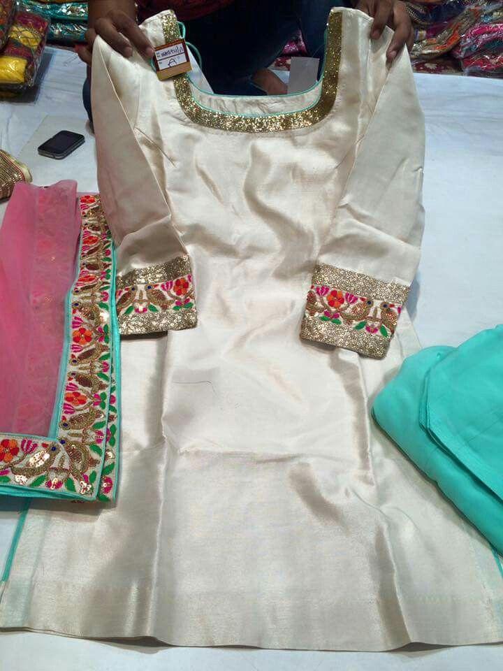 White pink aqua salwar suit
