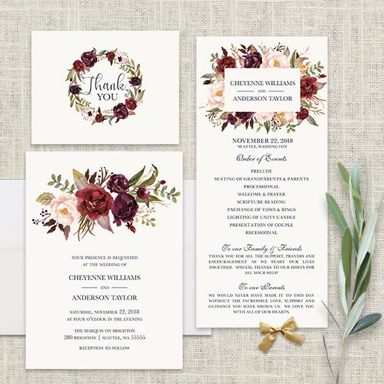 Floral Watercolor Wedding Invitations Burgundy Wine A beautiful watercolor wedding invitation featuring burgundy, wine and blush florals with greenery. Beautifully elegant fonts complete the design.