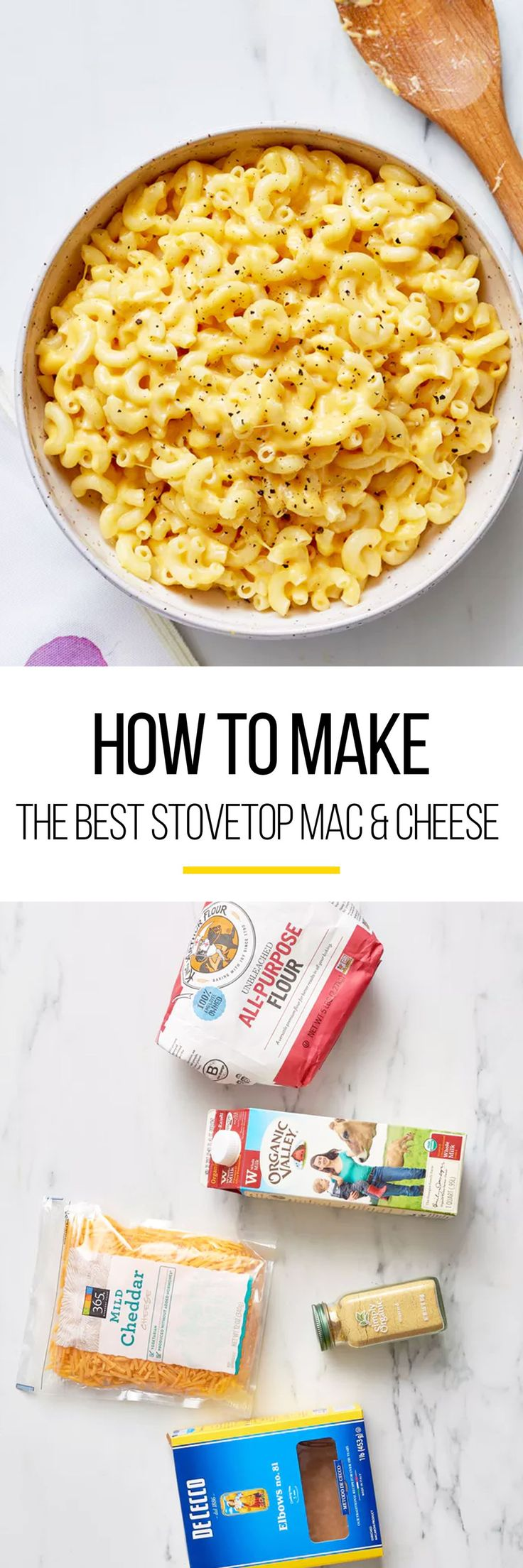 What cook doesn't go in search of the best macaroni and cheese recipe on the internet? Well, to keep it simple, this pasta recipe shows you how to make the best mac and cheese on the stovetop. This recipe is east to do and its great for a weeknight dinner. You'll need dried short pasta, whole or 2% milk, all-purpose flour, kosher salt, powdered mustard and shredded cheese, such as cheddar, Monterey Jack, or Colby.