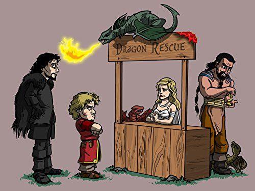 'Dragon Rescue' Medieval TV Show Parody 24x18 - Vinyl Print Poster