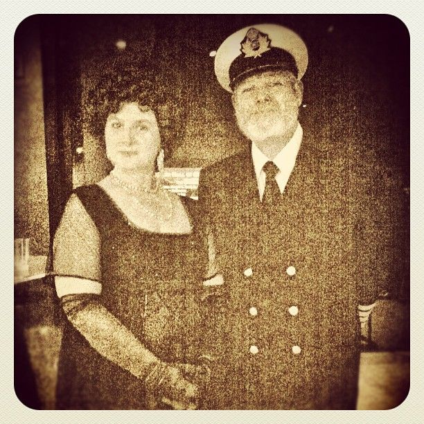 *THE UNSINKABLE MOLLY BROWN & CAPTAIN JOHN SMITH ~ at last night's Titanic VIP Night. #hmnstitanic