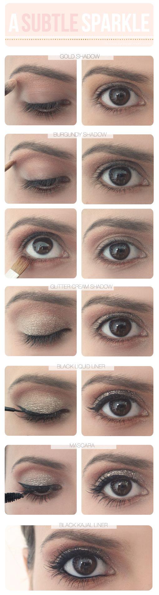 Glitter eye makeup.