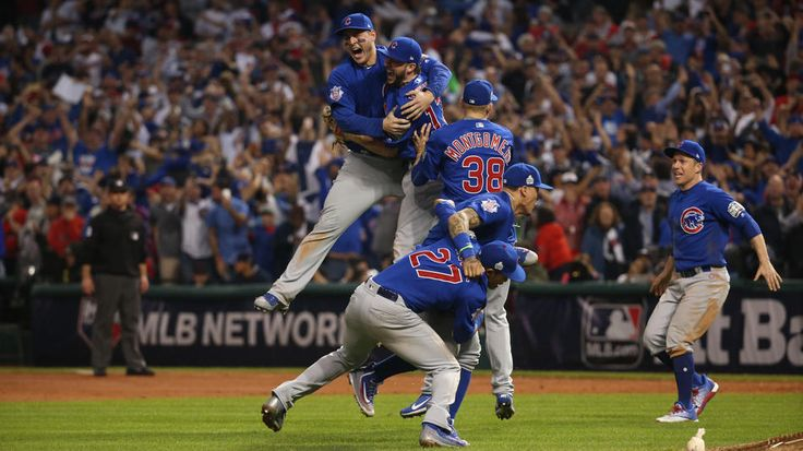 The Chicago Cubs celebrate after beating the Cleveland Indians on Nov. 3, 2016 in Game 7 to win the World Series at Progressive Field in Cleveland.