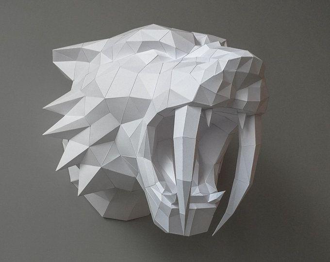 Trophy Art Digital Download DIY Paper Sculpture Lion Pepercraft Head Pdf Kit 3D Puzzle DIY 3D DIY King Lion Head Papercraft Trophy