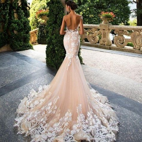 Lilly Ann Sheer Backless Mermaid Bridal Gown