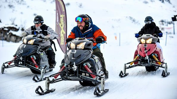 Switzerland- Bert, Adam and Leanne race each around Mount Titlis on snowmobiles.Tv Show, Snowmobiles