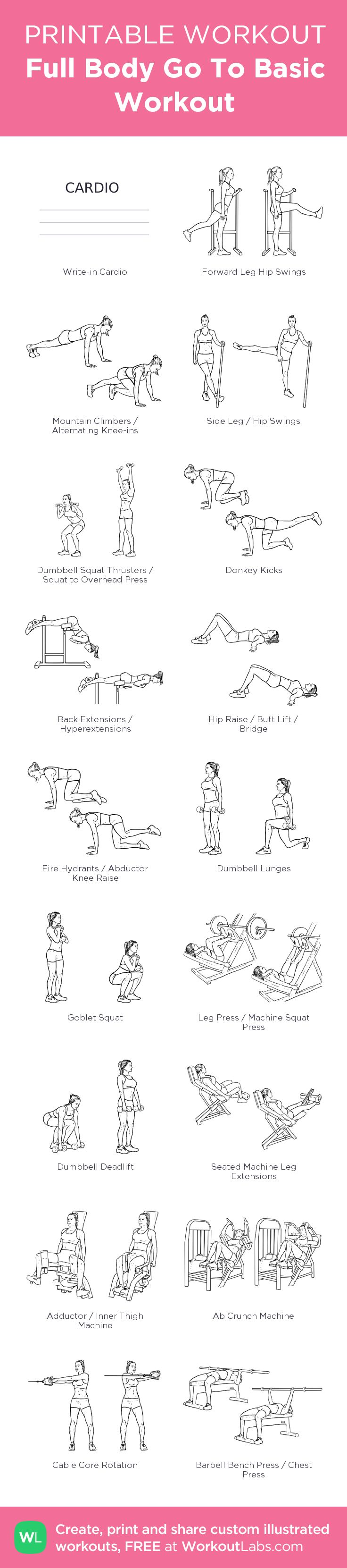 Full Body Go To Basic Workout –Part 1 Full Body Gym Workout my custom workout created at WorkoutLabs.com • Click through to download as printable PDF! #customworkout