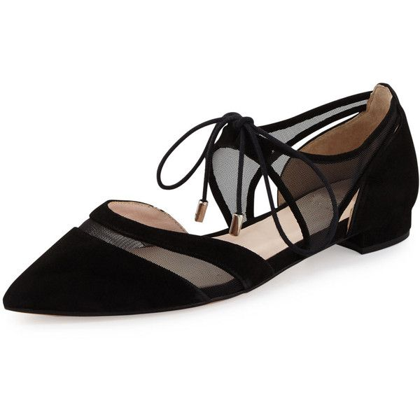 André Assous Maddie Pointed-Toe Lace-Up Ballerina Flat ($240) ❤ liked on Polyvore featuring shoes, flats, black, d'orsay flats, pointed toe ballet flats, black ankle strap flats, black d orsay flats and d orsay flats