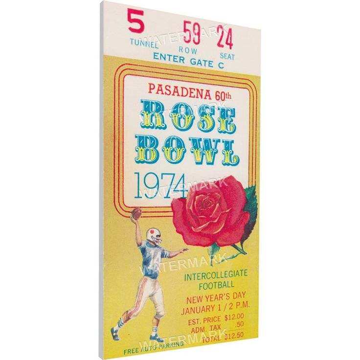 That's My Ticket Ohio State Buckeyes 1974 Rose Bowl Canvas Mega Ticket, Team