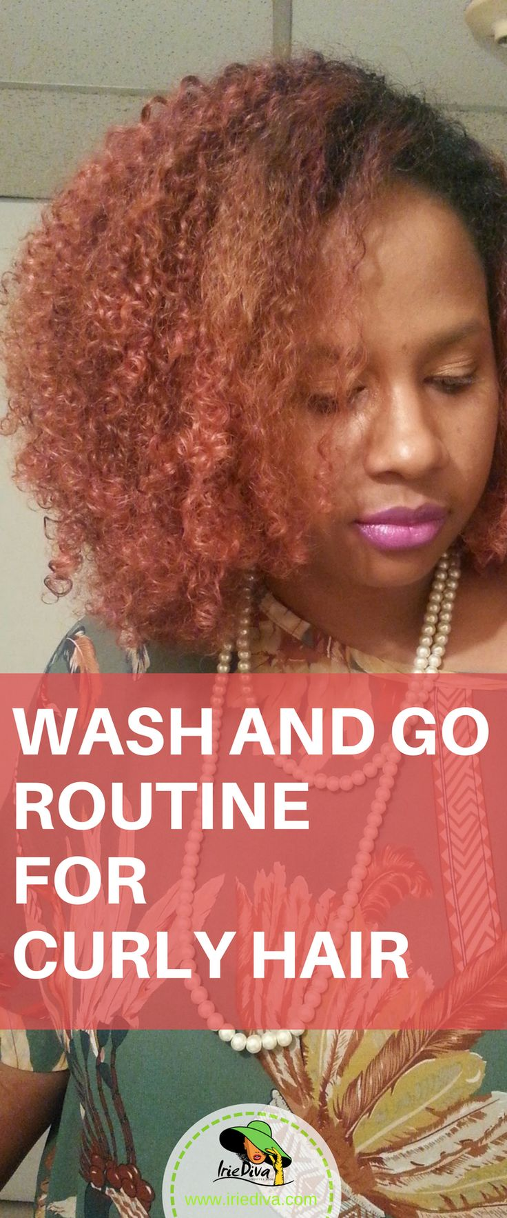 Wash and go routine for soft, bouncy, shiny, natural hair curls. #naturalhair #washandgo #redhair #curlyhair
