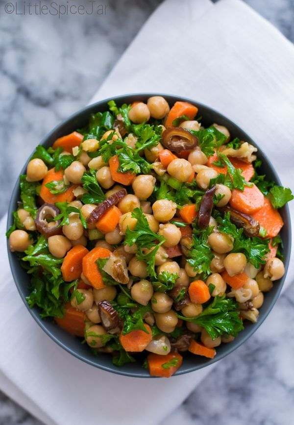 Moroccan Carrot Chickpea Salad. Didnt have parsley, added cinnamon, celery, cucumber, almonds.