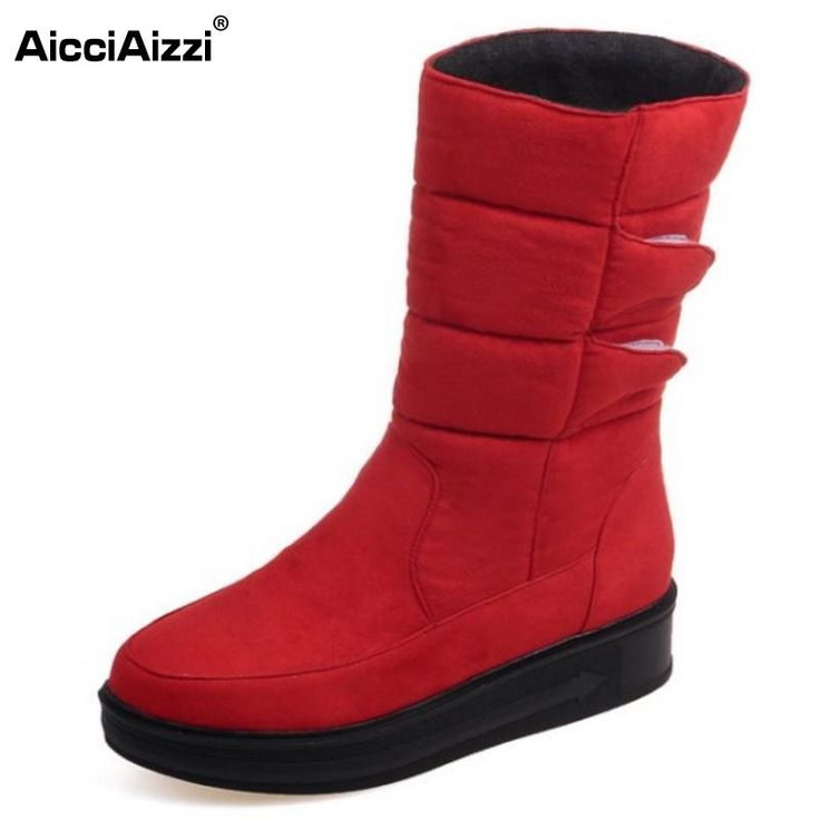 24.88$  Buy here - http://ali34k.shopchina.info/go.php?t=32740848124 - 2016 Fashion Waterproof Snow Boots Women's Mid Calf Boots Flat Winter Botas Mujer Platform Fur Shoes Woman Size 30-52  #shopstyle