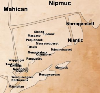 map of native american tribes with montauk