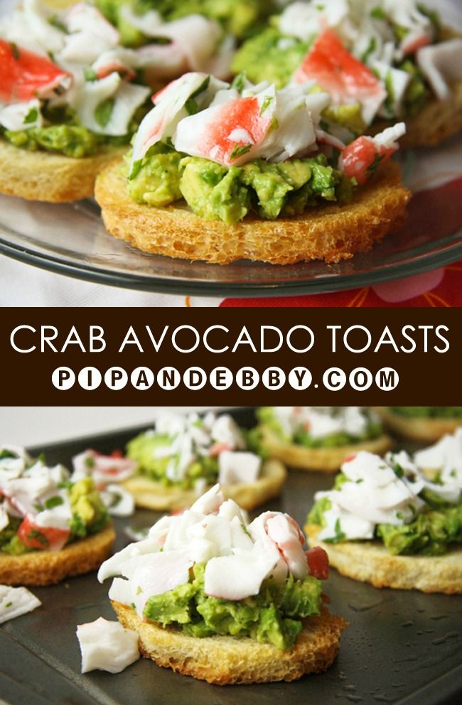 Crab and Avocado Toasts | Two of my favorite food together in a single appetizer. GREAT party food!