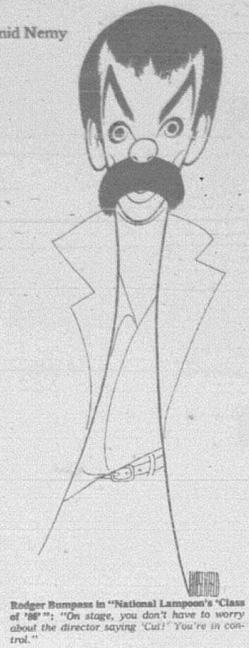 "Al Hirschfeld ~ Rodger Bumpass in ""National Lampoon's Class of '86"""