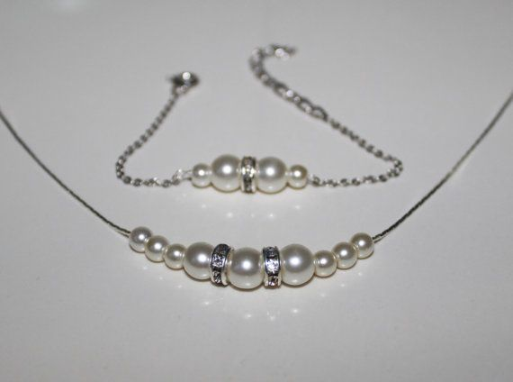 Bridesmaid Jewelry Gift Pearl Necklace and Bracelet set