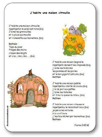 Comptine pour enfants maternelle, cycle 2, sur le thème d'Halloween et des citrouilles. Comptine J'habite une maison citrouille