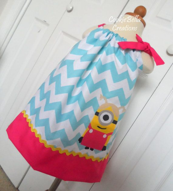 Despicable Me Girl Minion Chevron Pillowcase Dress ...perfect for a birthday party and customizable.