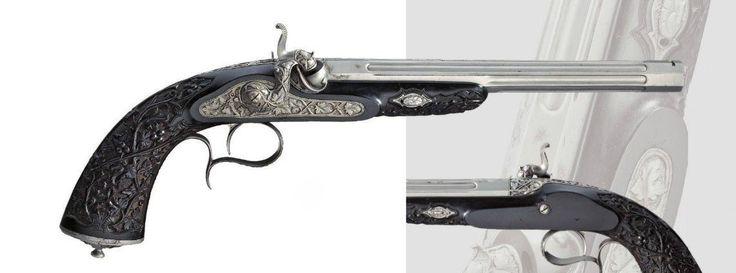Pistola de percusión. Liege, alrededor de 1860