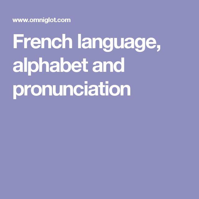 French language, alphabet and pronunciation