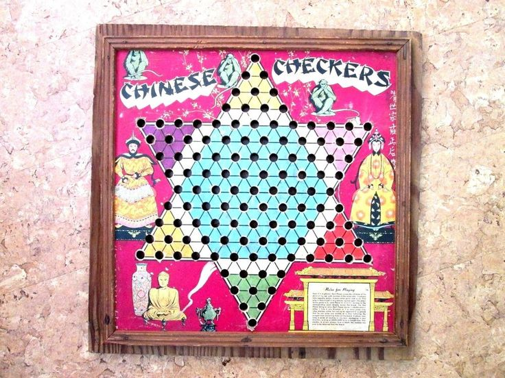 primitive Vintage Chinese Checker Board on plywood Colorful unknown age/maker