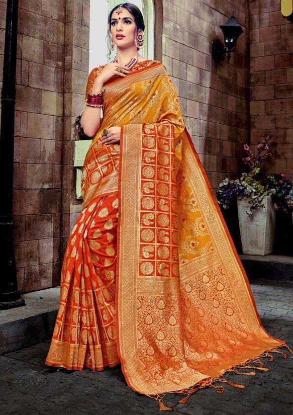cb11183440a68 Flame Orange and Mustard Yellow Banarasi Silk Saree