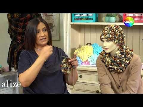 Alize Superlana Multicolor ile Bere Boyunluk - Hat and Cowl with using Alize Superlana Multi Color - YouTube