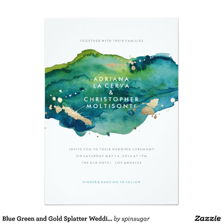 Blue Green and Gold Splatter Wedding Invitation