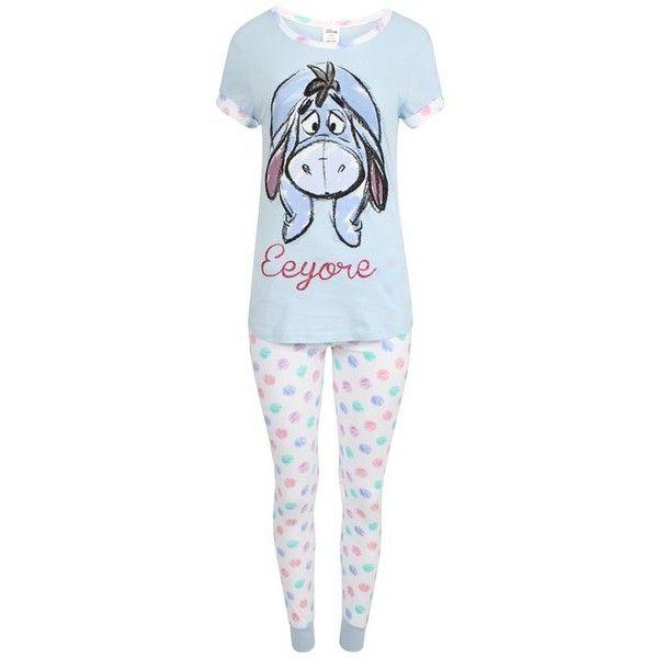 Disney Women's Eeyore Winnie the Pooh Cotton Pyjamas ($27) ❤ liked on Polyvore featuring intimates, sleepwear, pajamas, disney pajamas, disney pjs, cotton pjs, disney sleepwear and cotton sleep wear