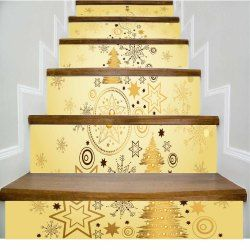 DSU Star Snowflake Golden Geometry Happy New Year Stairs Sticker Vinyl(PVC) Plane Wall Sticker Online