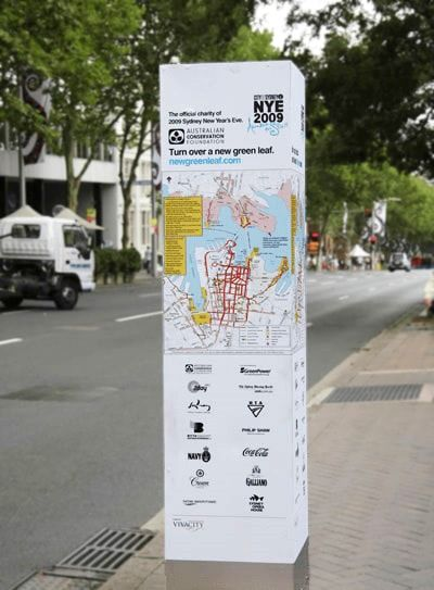Directional signage with a map for New Year's Eve.