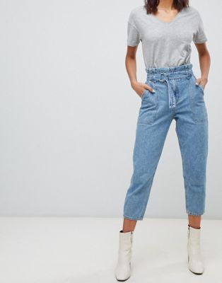 4878bc37ac River Island belted paperbag mom jeans in light wash in 2019 ...