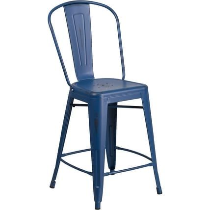 iHome Brimmes 24'' High Distressed Antique Blue Metal Indoor/Outdoor/Patio/Bar Counter Height Stool w/Back