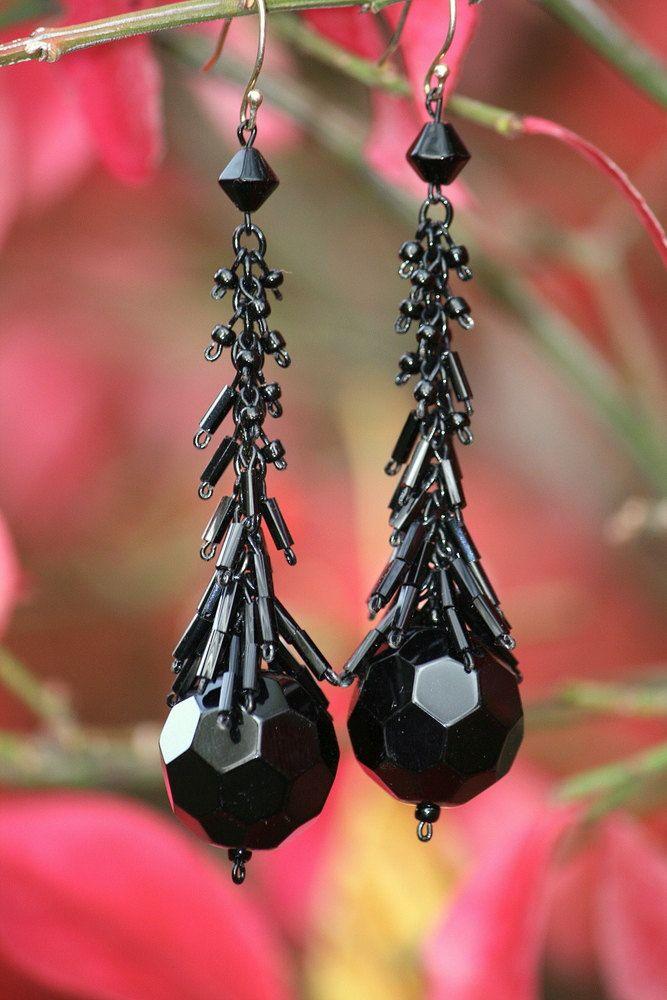 (I like the graduation of size with the seed & bugle beads to form a nice visual drop shape.) Jet Black Drop Earring. $13.00, via Etsy.