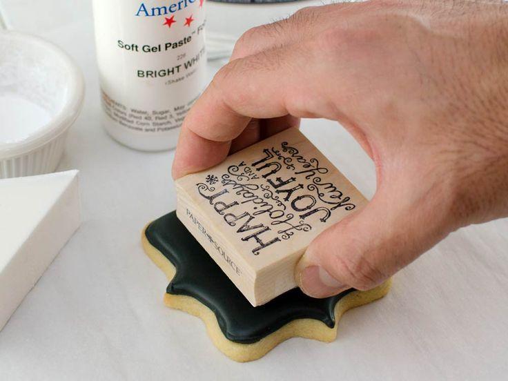 How to make chalkboard stamped cookies (Semi-sweet Designs).