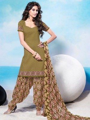 Green Beige Cotton Pretty Patiala Salwar Kameez              parisworld.in