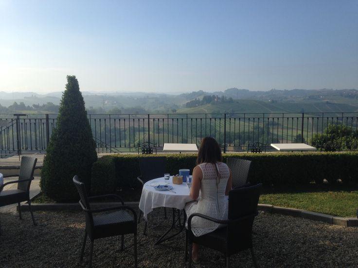 Breakfast over-looking Piemonte and the Langhe region.