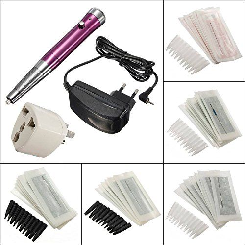 LuckyFine Pro Eyebrow Tattoo Permanent Makeup Machine Pen Needle Tip Power Supply Set Kit *** More info could be found at the image url.