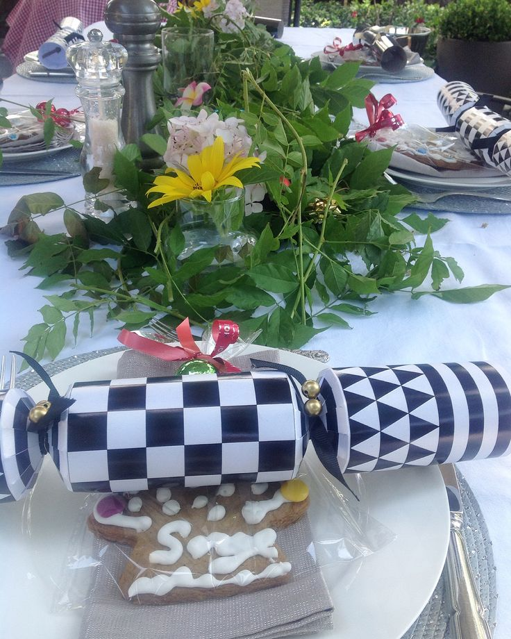 Festive garden table setting