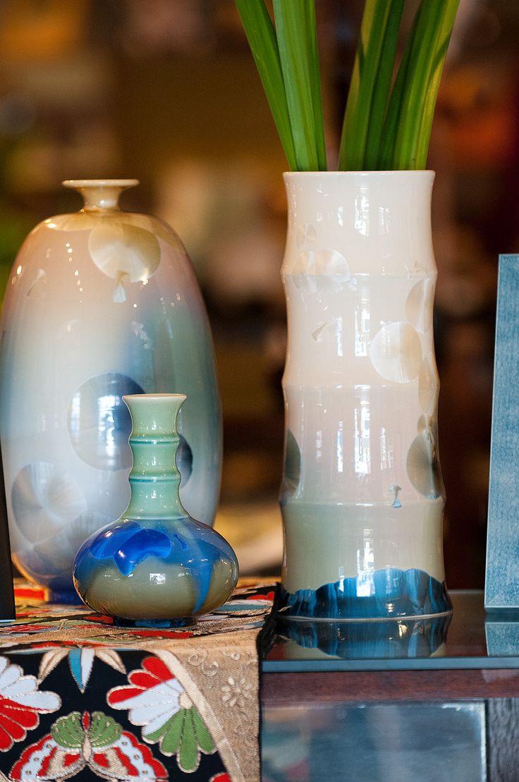 Crystalline glazed ceramic vases.