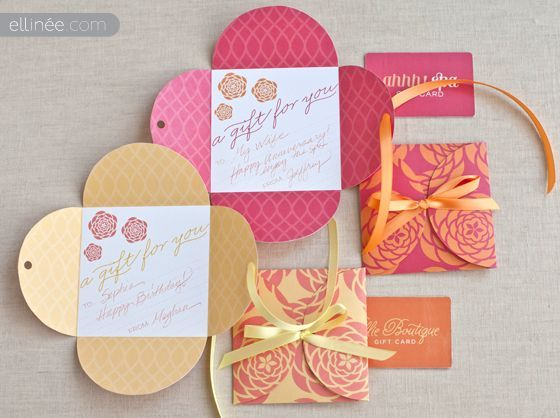 """this site has printouts for """"petal"""" gift card holders-could also be used as a mini card and write a note inside"""