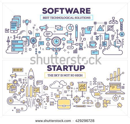 Vector creative concept illustration of software and technology startup. Horizontal composition template. Hand draw flat thin line art style design fo…