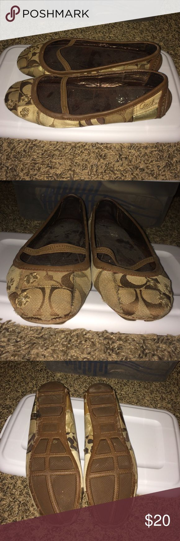 Ballerina Shoes Authentic Coach. Cute leather ballerina. Patchwork. In good shape! Was once soak in water so the insole lost it's shine effect. Some scuffs and stains in some areas but because it's patchwork you will barely notice. It's still beautiful. Size 6M Coach Shoes Sandals
