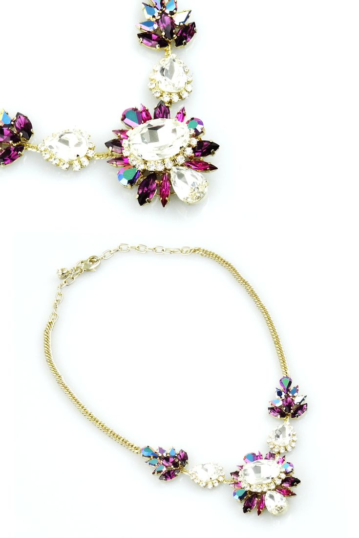 "Collier ""Liz"" con Cristalli Color Zaffiro Bianco, Ametista e Rosa Cangiante by LisaC Bijoux"