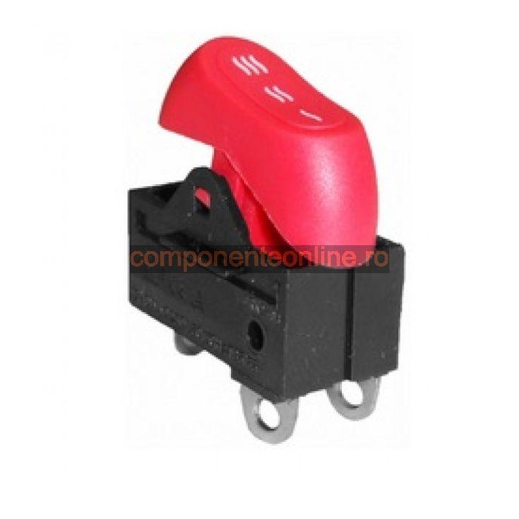 Comutator ON-OFF-ON, 6A, 250V, 27x16x33mm, rosu - 169208