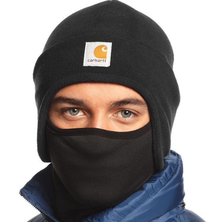 For added comfort, the inner mask features a moisture-wicking finish. The Carhartt logo is sewn on the front. This 2-in-1 fleece headwear combines a fleece hat with a pull-down face mask that tucks up into the hat when not in use.