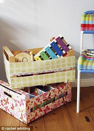 Decorate wooden vegetable crates with pretty patterned paper to transform them