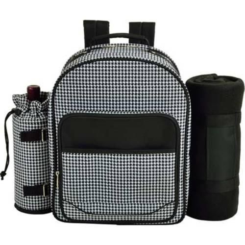 Picnic at Ascot Houndstooth Picnic Backpack for Four with Blanket Houndstooth